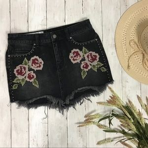 Free People Floral Embroidered Raw Hem Denim Skirt